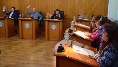 Manos arriba. El parlamento trelewense sesionó con reclamos para la toma de edificios de Educación.