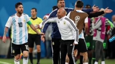 """Sampaoli: """"Trabajaremos en lo colectivo para que Messi pueda dar lo que dio hoy gran parte del partido""""."""