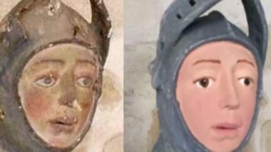 La estatua de San Jorge a caballo descolorida se convierte en una figura a todo color, con tonos fríos y la expresividad facial de un personaje de los cómics de Tintín.