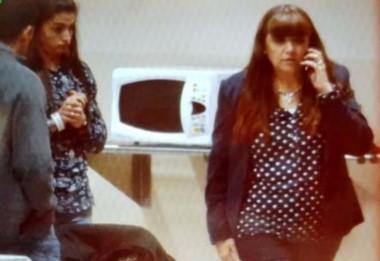 La ministra Graciela Cigudosa, esta jueves por la noche en el Hotel Deportivo. Siguen las negociaciones pero no habría nueva oferta. Foto: Sergio Esparza / Jornada