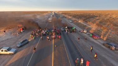 Una imagen aérea del corte en la Ruta 3 en Madryn / Foto: Gentileza José Almada