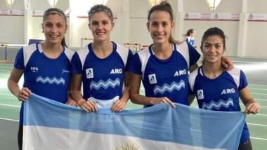 Diogo junto con sus compañeras Valeria Barón, Noelia Martínez y Fiorella Chiappe.