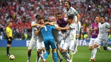 En los octavos de final, Rusia dio el batacazo eliminando por penales a España, con una fenomenal actuación del arquero Akinfeev.