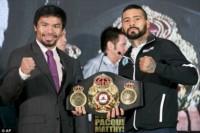 Manny y Lucas en la conferencia de prensa previo al pesaje de mañana y la pelea del domingo.