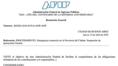 La resolución que emitió la AFIP en beneficio de las pymes de Chubut.