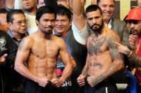 Manny Pacquiao y Lucas Matthysse, cara a cara. El filipino y el chubutense se medirán hoy a la medianoche argentina en Kuala Lumpur, Malasia.