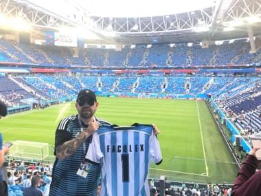 Las fotos fueron publicadas tras el partido Argentina - Nigeria