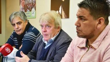 Trío. Quiroga (izquierda), Vera y Collio durante la conferencia de prensa para explicar la estrategia.