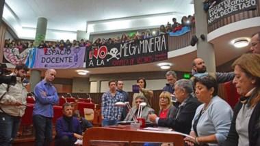 De improviso se realizó la conferencia del Fpv y el Frente de Agrupaciones dentro del recinto de la Cámara.