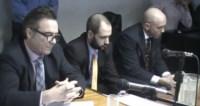 El fiscal general Arnaldo Maza y el funcionario de Fiscalía, Enrique Kaltenmeier, en la audiencia de cesura.