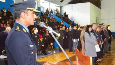 Discurso. El jefe de la fuerza agradeció el compromiso de sus subordinados y festejó los ascensos.