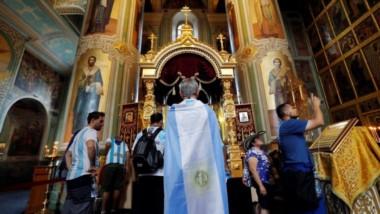 Hacer turismo es una alternativa para los hinchas argentinos que aún siguen en Rusia.