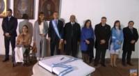 El presidente junto a su esposa, la vicepresidenta Michetti y el gobernador Manzur en la histórica Casa de Tucumán.