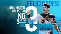 Ya es oficial: Delpo figura siendo el 1º argentino y sudamericano en el podio del ranking de la ATP después de 11 años y 9 meses, desde Nalbandian en noviembre de 2006.