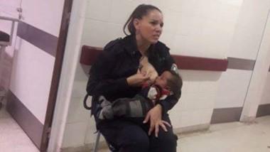 La agente amamantó a un bebe abandonado en plena guardia.