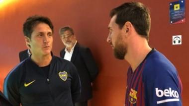 Messi se acercó a saludar ayer al vestuario visitante y conversó unos minutos con Barros Schelotto.