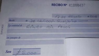 Evidencia. Uno de los recibos que se le entregó a un trabajador con un pago parcial de 5.000 pesos.