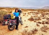 Guadalupe hace tres años, en Puerto Madryn, cuando iniciaba su travesía