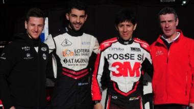 El chubutense Lucas Valle y su equipo. Con su Mitsubishi, alcanzó el puesto 15 en la segunda final de Salta.
