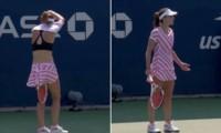 Alize Cornet protagonizó uno de los hechos más repudiables del US Open cuando recibió una advertencia por darse vuelta la camiseta que tenía puesta al revés.