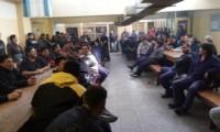 La asamblea de ayer en el comedor de la empresa textil de Trelew.