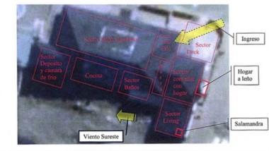 Pericia. El croquis oficial que indica los puntos clave que se hallaron en la confitería destruida.