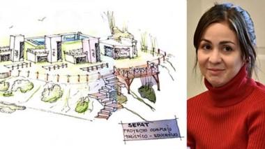 Sonrisa. Un dibujo del frustrado proyecto inmobiliario del grupo de Correa y una postal de Daniela Souza, cuya situación se complicará.