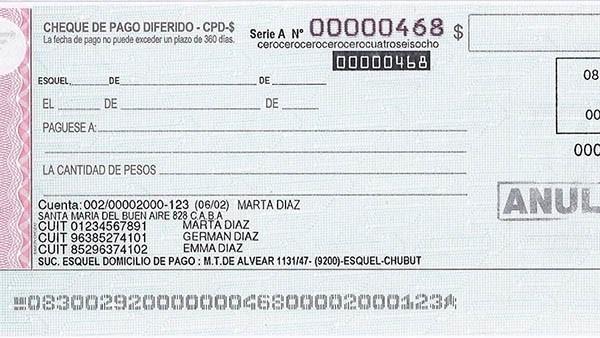 Ejemplo. Un modelo del nuevo cheque que se usará para evitar fraudes.