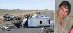 La imagen del brutal accidente de 2013, y Ricardo Silvi, la víctima fatal.