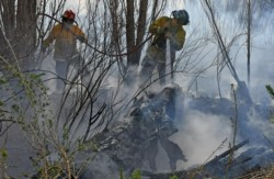 Los bomberos combatiendo las llamas en plena chacra. (Foto: Daniel Feldman / Jornada)