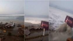 Secuencia de la llegada del tsunami a la costa de Palu provocando devastadores daños en la ciudad.