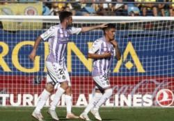 Leo Suárez, la imagen de la alegría del Real Valladolid.
