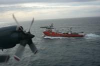 El buque Seabed Constructor, de la firma norteamericana, avistado por un avión P3-Orion de la Armada Argentina. (Foto: Armada Argentina)