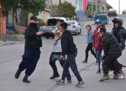 Un efectivo policial forcejenado con un grupo de menores. Detrás, el pitbull de la discordia. (Foto: Alberto Evans / Jornada)