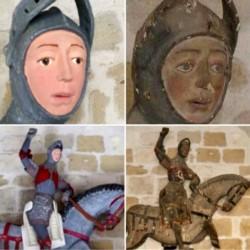 Otra restauración fatal, la de una talla medieval de San Jorge a caballo en Estella (Navarra, norte).