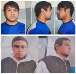 La imagen de Guenuman (arriba) y Uranga, los dos presos fugados (foto @radio3trelew)