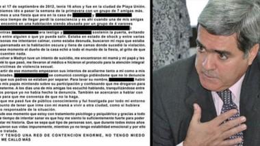 Tema sensible. A la izquierda, el relato de la joven; el procurador Jorge Miquelarena explicó el proceso.