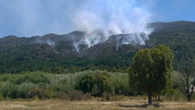 Más de un centenar de personas trabajan para sofocar el incendio en la Comarca Andina. El fuerte viento reinante complica la labor brigadista.
