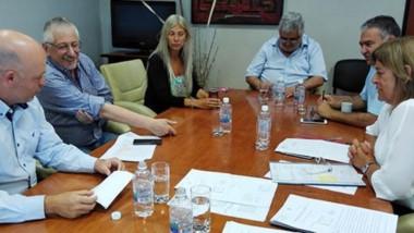 Distensión. Una postal del encuentro entre el ministro Pizzi y los legisladores para discutir cómo seguirá el escenario sanitario en Chubut.