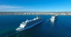 Madryn y la postal con el arribo de dos grandes cruceros (foto José Almada)