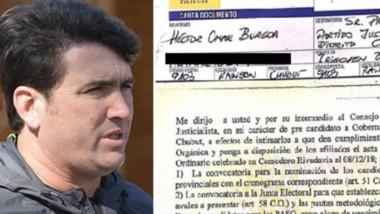 """Carta documento. El intendente del Valle Inferior se quejó por la """"indefinición"""" de los órganos partidarios."""