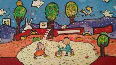 """El mural de Enrique """"Quique"""" Gonzalez, que viste la sala del Taller de Dibujo del Centro  Cultural."""