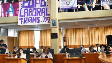 Banderas. El colectivo trans se expresó en el parlamento municipal a favor de aprobar el proyecto.