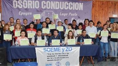 Certificados. Con Osorio reelecto, la cúpula del SOEME se renovó para una gestión hasta 2023.