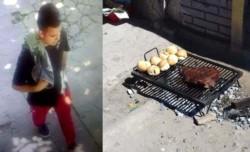 Un joven que pasaba por la calle les robó el pedazo de vacío que se doraba en la parrilla.