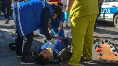 Momentos en que llegaba el equipo de urgencias del hospital Margara.
