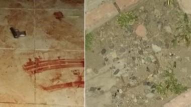 Así lucía la escena del hecho. Armas e importante cantidad de sangre.