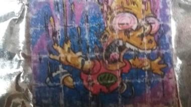 Cartones de LSD con el sello de Bart Simpson incautados por la PFA.