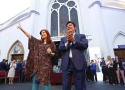 Cristina estuvo en la asunción del dirigente peronista Fernando Espinoza como intendente de La Matanza.