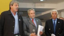 Eduardo Buzzi (Federación Agraria), Mario Llambías (CRA) y Luciano Miguens (SRA), en aquellos años de rebelión.